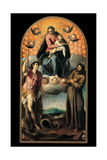 Madonna and Child in Glory with St. George and St. Francis Print by Jacopo Negretti