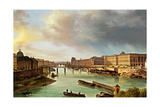 View of Louvre and Pont des Arts in Paris Prints by Giuseppe Canella