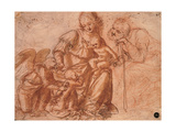 Holy Family with Young St. John and an Angel Prints by , Marco d'Oggiono