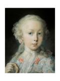 Portrait of a Girl with a Bussol, by Rosalba Carriera, c. 1725. Accademia, Venice, Italy Giclée-tryk af Rosalba Carriera
