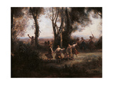 Morning. The Nymphs Dance Giclee Print by Jean-Baptiste-Camille Corot