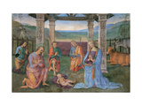 Nativity with Eternal Father in Glory with Angels and the Assumption Prints by Perugino Vannucci
