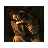 Saint Francis in Prayer Plakaty autor Caravaggio