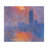 London Houses of Parliament. The Sun Shining Through the Fog Prints by Claude Monet