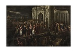 Doge and Patriarch Welcoming French King Henri III to Venice Kunstdrucke von Andrea Vicentino