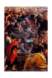 Dead Christ with Madonna, Angels and Bologna Protector Saints Plakat af Annibale Carracci