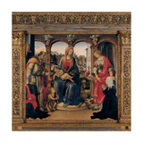 Madonna and Child, Saints, Believers in Prayer, with wood frame, 15th c. Florence, Italy Giclee Print