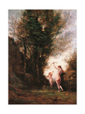 Nymph Playing with Cupid Giclee Print by Camille Corot