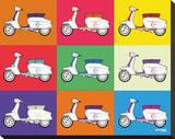 Lambretta Pop Art Stretched Canvas Print