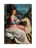 Lady and the Unicorn (probably Giulia Farnese) Posters by Luca Longhi