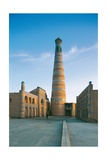 Madrasa and Minaret of Islam Khodja (left), Soviet School (right), 1908-1910. Uzbekistan, Khiva. Art