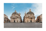 Santa Maria Regina Coeli in Montesanto and Santa Maria dei Miracoli in Piazza del Popolo, Rome. Prints by Gian Lorenzo Bernini