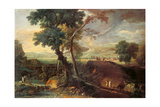 Landscape with a Torrent and Monks Plakater af Marco Ricci