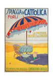 Travel Poster for Spiaggia di Cattolica,Italian Riviera, Unknown Artist, 20th c. Private collection Prints