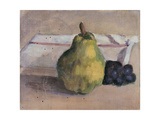 Still Life with Pear and Grapes Print by Egisto Paolo Fabbri