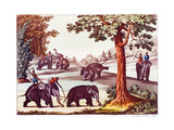 Various Stages of the Capture of an Elephant in India, 1827. Giclee Print