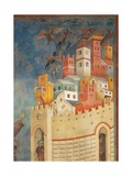 St. Francis Drives Devils Out of Arezzo Prints by  Giotto di Bondone