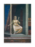 Life of Joachim, Woman Spinning Prints by  Giotto di Bondone