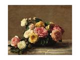 Roses in a Bowl Reproduction giclée Premium par Henri Fantin-Latour