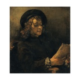 Portrait of Titus Reading Prints by  Rembrandt van Rijn