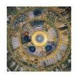 Cupola of the Creation or Genesis, 13th c. Mosaics of St. Mark's Basilica, Venice, Italy Prints
