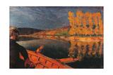 Ferryman Cipa Godebski in a Boat on the Yonne Poster par Edouard Vuillard