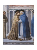 St Francis Meeting of St.Francis and St. Dominic Giclee-tryk i høj kvalitet af Benozzo Gozzoli