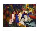 Children playing by the water Giclee Print by Auguste Macke