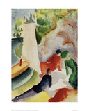 Picnic on the Beach Giclee Print by Auguste Macke