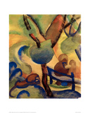 Hermit with lion Giclee Print by Auguste Macke