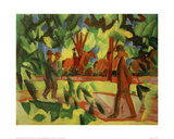 Horsemen and Walkers in the Avenue Giclee Print by Auguste Macke