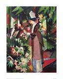 Strolling amongst Flowers Giclee Print by Auguste Macke