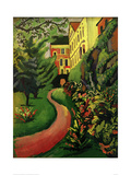 Our garden with flowering borders Giclee Print by Auguste Macke
