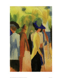 People Strolling under Trees Giclee Print by Auguste Macke
