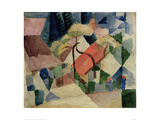 Village Houses with Gardens Giclee Print by Auguste Macke