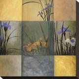 Lirios en composición de nueve Reproducción en lienzo de la lámina por Don Li-Leger