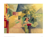 Garden with Woman Reading Giclee Print by Auguste Macke