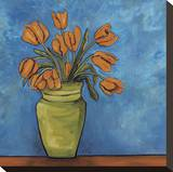 Orange Tulips Stretched Canvas Print by Ann Parr