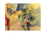 Garden with Woman Reading Giclée-tryk af Auguste Macke