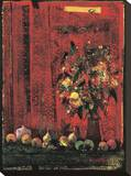 Mesa con Mantel Rojo Stretched Canvas Print by Juaquin Hidalgo