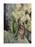 Women in front of hat shop Giclee Print by Auguste Macke