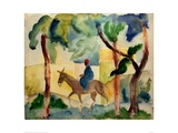 Man Riding on a Donkey Giclee Print by Auguste Macke