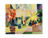 Garden on Lake Thun Giclee Print by Auguste Macke