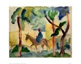 Man Riding on a Donkey Giclée-tryk af Auguste Macke