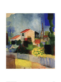 The Bright House Giclée-tryk af Auguste Macke