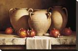 Urns with Persimmons and Pomegranates Stretched Canvas Print by Loran Speck