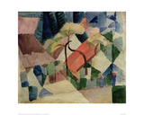 Village Houses with Gardens Giclée-tryk af Auguste Macke
