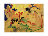 Three Nudes with Deer at Waters Edge Giclee Print by Auguste Macke