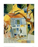 Courtyard of a House in St Germain Giclee Print by Auguste Macke