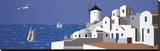 Molino en Santorini Stretched Canvas Print by Vicenc Curtó